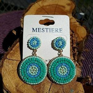 Jewelry - Blue & Mint Ombre Round Bead Earrings